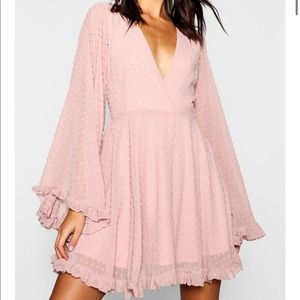Pink bell sleeve mini dress